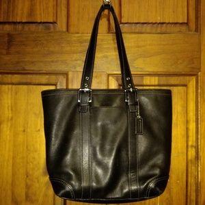 Coach Hampton Black Leather Tote Purse F10194